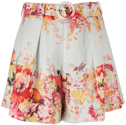Zimmermann Mae Floral Belted Tuck Short