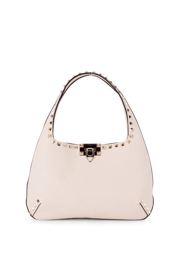 Valentino Garavani Rockstud Light Ivory Leather Small Hobo Bag