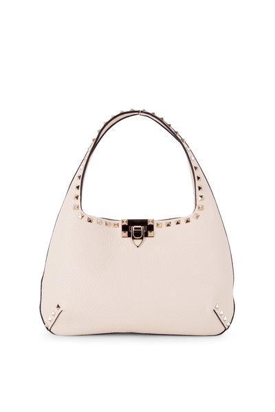 Valentino Garavani - Rockstud Light Ivory Leather Small Hobo Bag