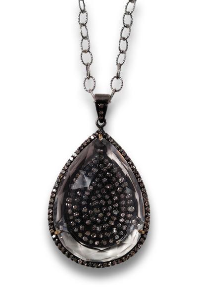 Loriann - Gold Clear Diamond Quartz Necklace