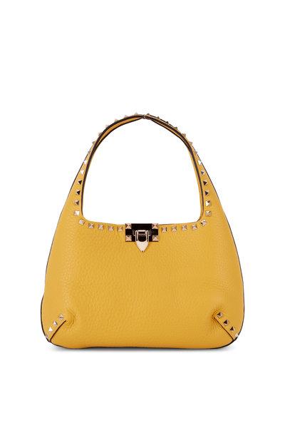 Valentino Garavani - Rockstud Golden Yellow Leather Small Hobo Bag