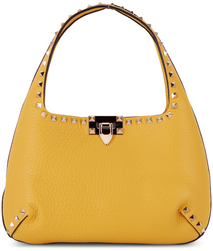 Valentino Garavani Rockstud Golden Yellow Leather Small Hobo Bag