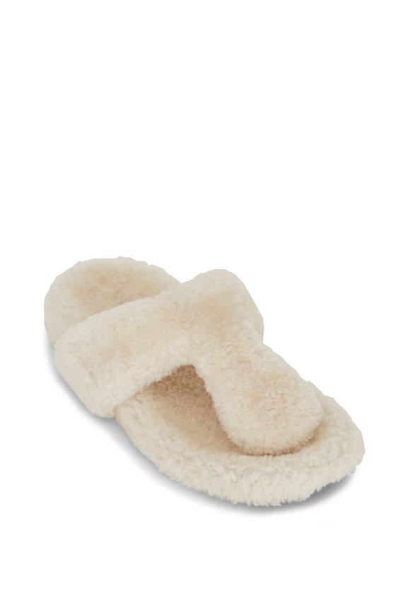 Aquazzura Relax Flat Footbed Cream Shearling Thong Sandal
