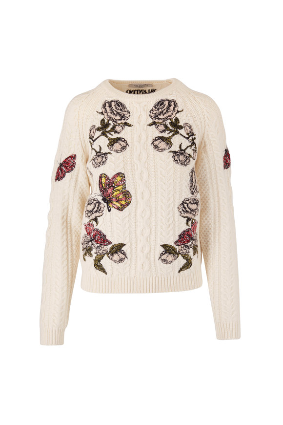 Valentino White Butterfly & Rose Embroidered Wool Sweater