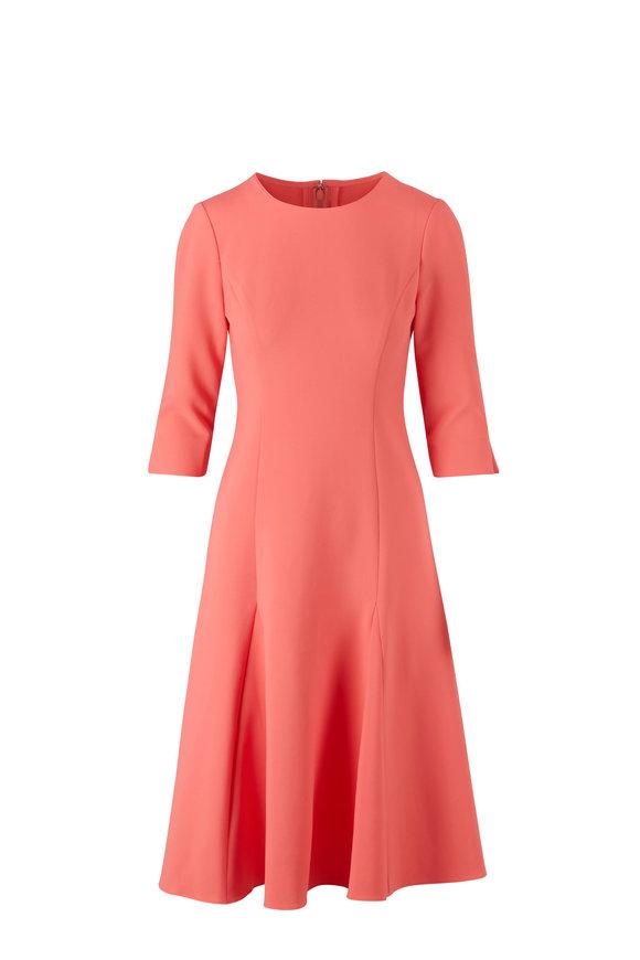 Carolina Herrera Godet Melon Three-Quarter Sleeve Sheath Dress