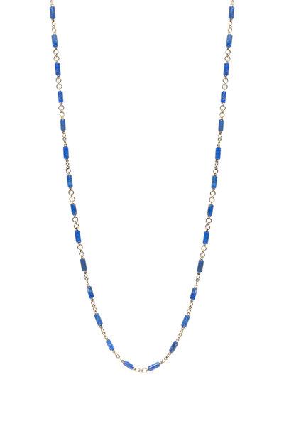 Sylva & Cie - Yellow Gold Blue Lapis Bead Necklace