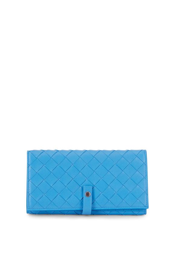 Bottega Veneta  Intrecciato Blue Bi-Fold Snap Wallet