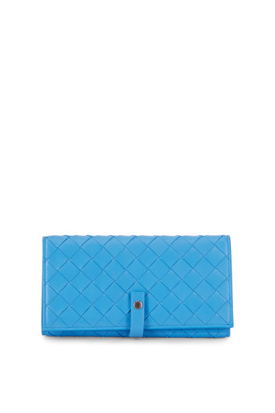 Bottega Veneta -  Intrecciato Blue Bi-Fold Snap Wallet