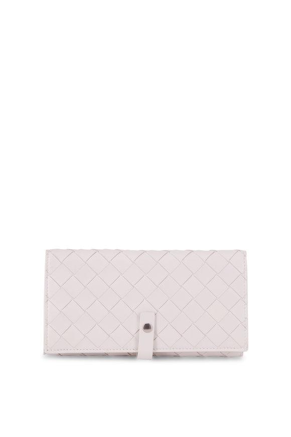 Bottega Veneta  Intrecciato White Bi-Fold Flap Wallet