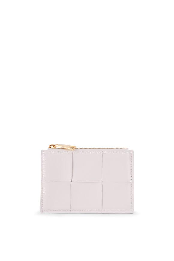 Bottega Veneta Chalk Wide Weave Leather Top Zip Card Case