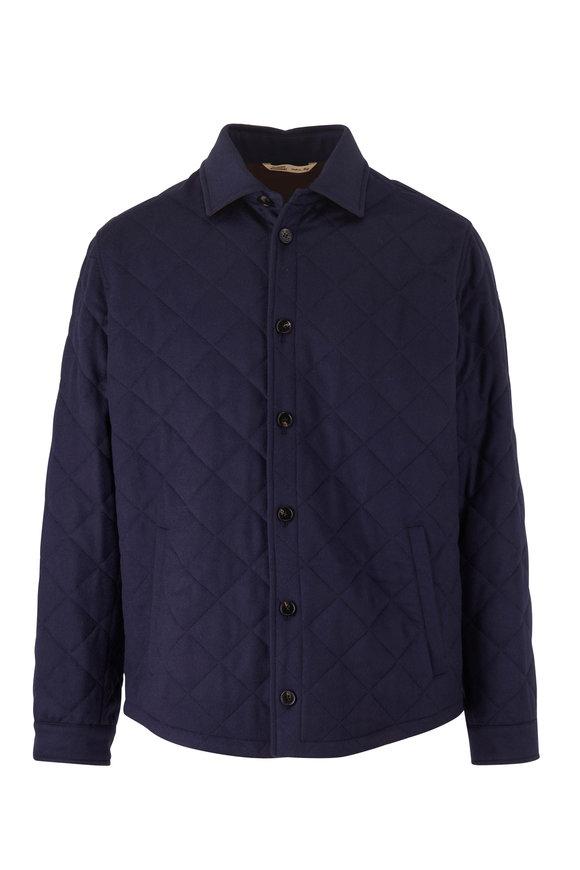 Maurizio Baldassari Navy Quilted Cashmere Jacket