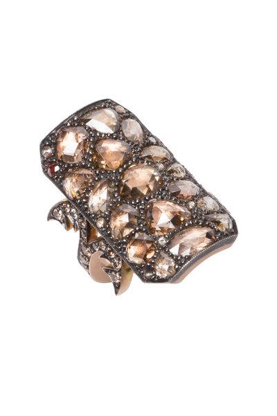 Sylva & Cie - Rose Gold Champagne & White Diamond Ring