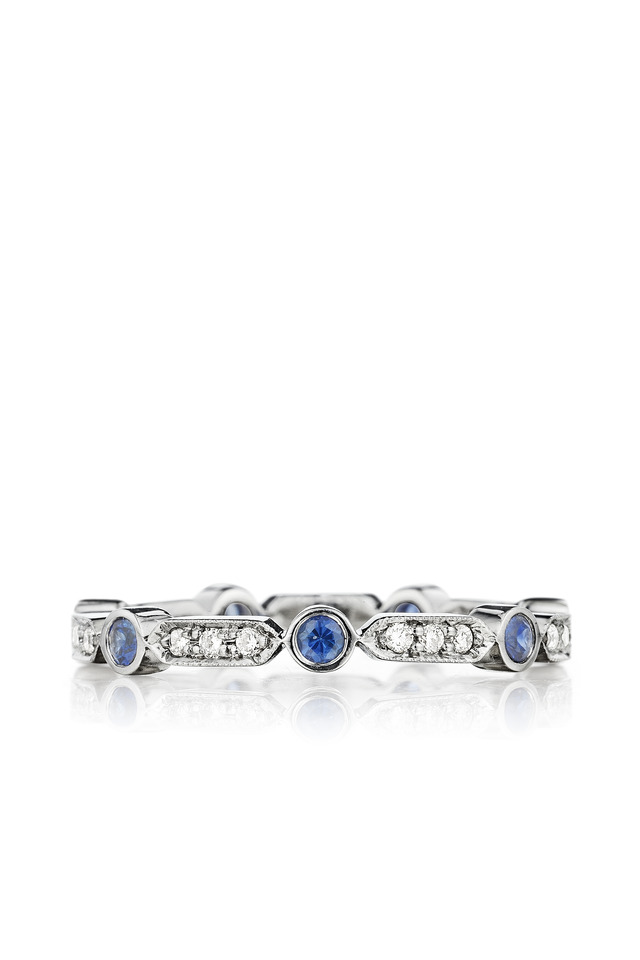 Pave Diamond Bar Blue Sapphire Ring