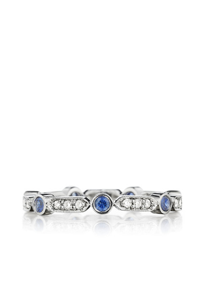 Penny Preville - Pave Diamond Bar Blue Sapphire Ring