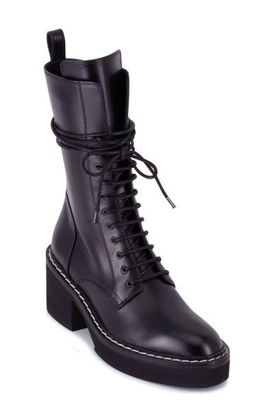 Khaite - Cody Black Lace-Up Combat Boot