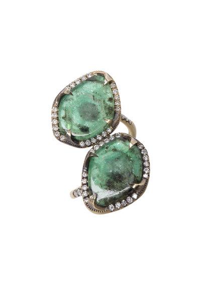 Sylva & Cie - Yellow Gold Emerald Slices Diamond Ring