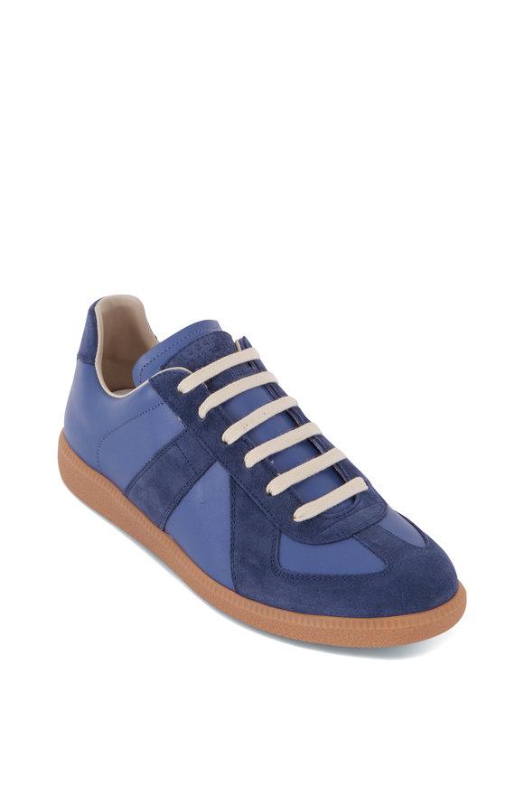 Maison Margiela Replica Blue Leather & Suede Low Top Sneaker