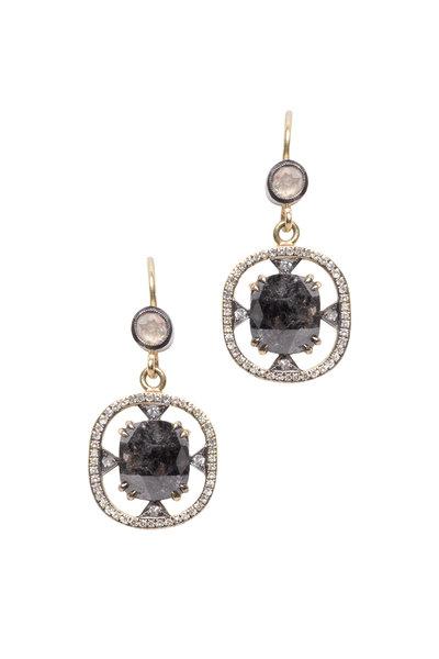 Sylva & Cie - Yellow Gold Rough & White Diamond Earrings
