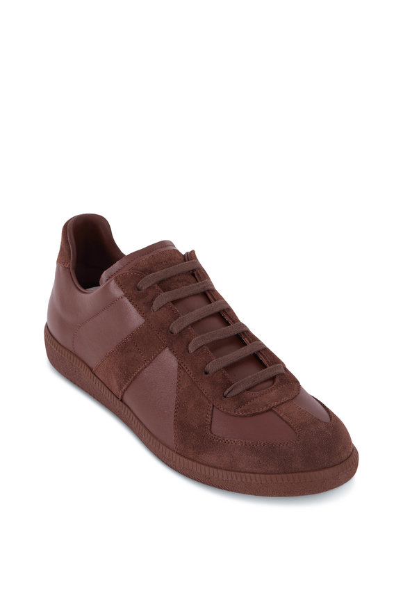 Maison Margiela Replica Brown Leather & Suede Lace-Up Sneaker