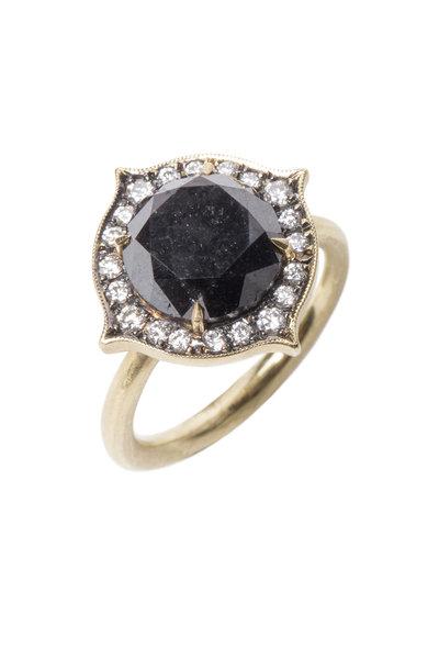 Sylva & Cie - Yellow Gold Black & White Diamond Ring