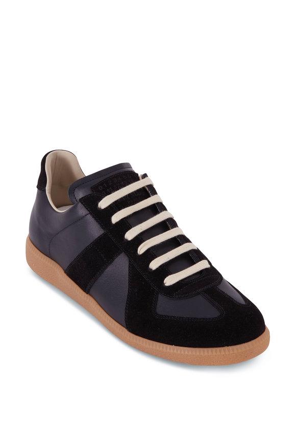 Maison Margiela Replica Black Leather & Suede Low Top Sneaker
