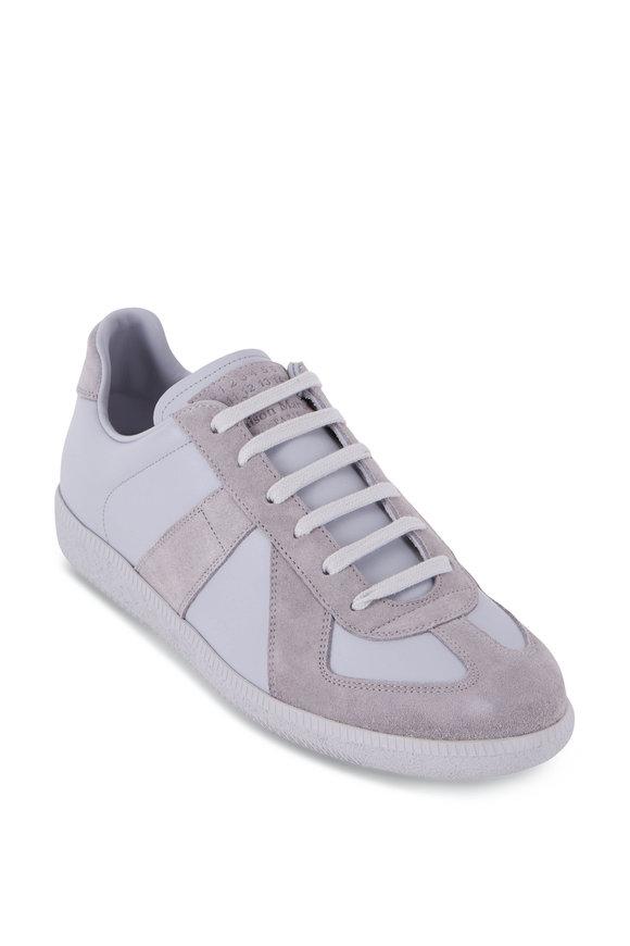 Maison Margiela Replica Tonal Gray Leather & Suede Low Top Sneaker