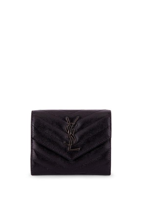 Saint Laurent Black Quilted Leather Monogram Wallet