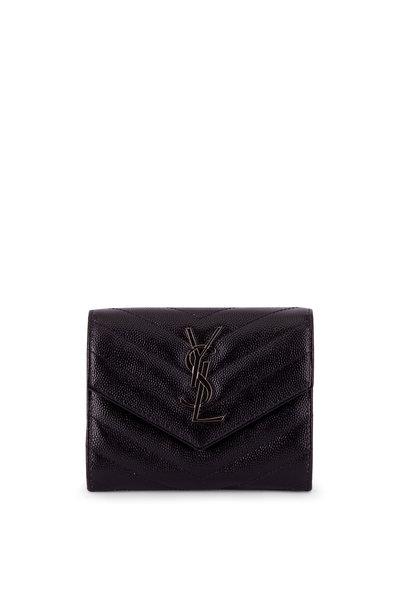 Saint Laurent - Black Quilted Leather Monogram Wallet