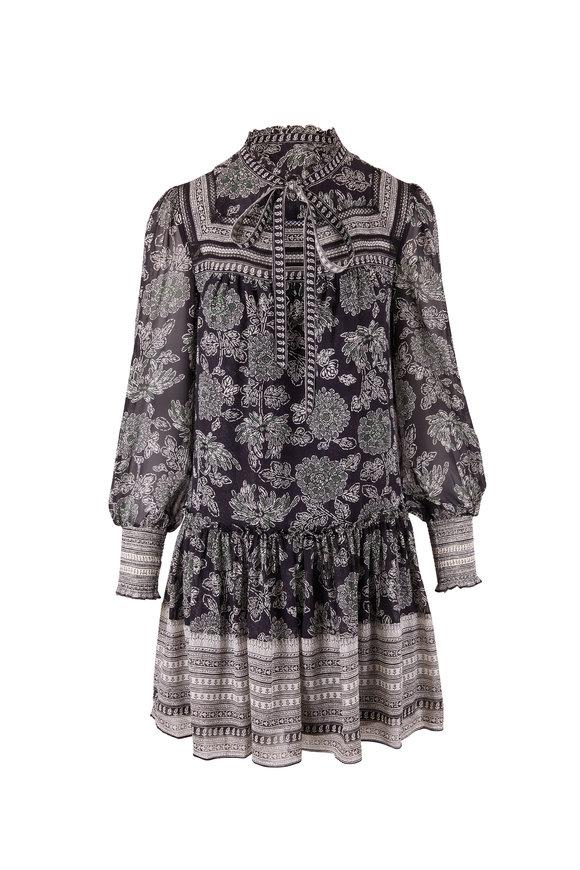 Veronica Beard Nadila Black Print Long Sleeve Dress