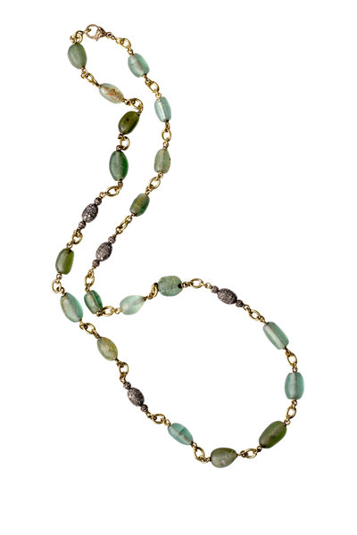 Sylva & Cie - Yellow Gold Ancient Glass Bead Necklace