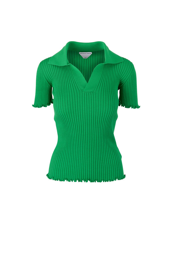 Bottega Veneta Green Lightweight Cotton Ribbed Sweater