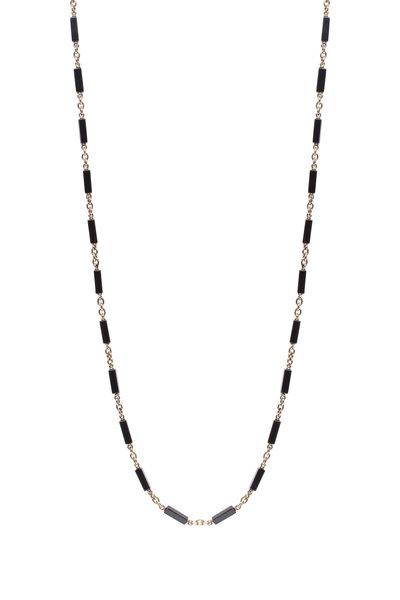 Sylva & Cie - Square Onyx Bead Necklace