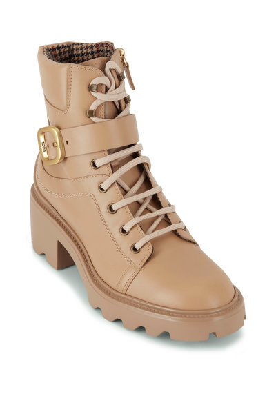 Tod's - Beige Leather Lace Up Combat Bootie, 60mm