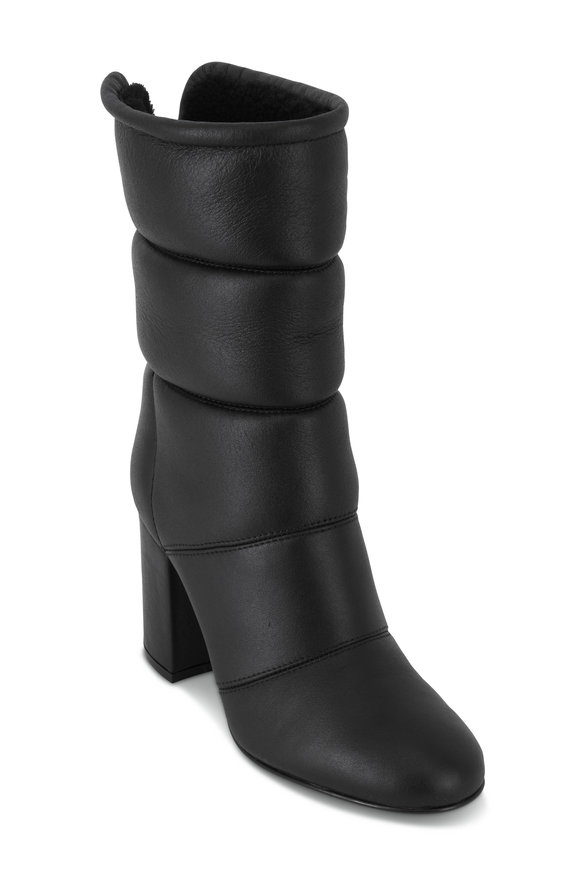 Gianvito Rossi Black Padded Leather Mid-Calf Boot, 85mm