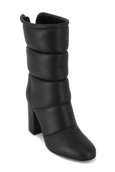Gianvito Rossi - Black Padded Leather Mid-Calf Boot, 85mm