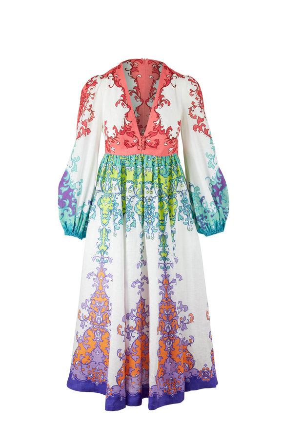 Zimmermann Nina Multicolor Linen Dress
