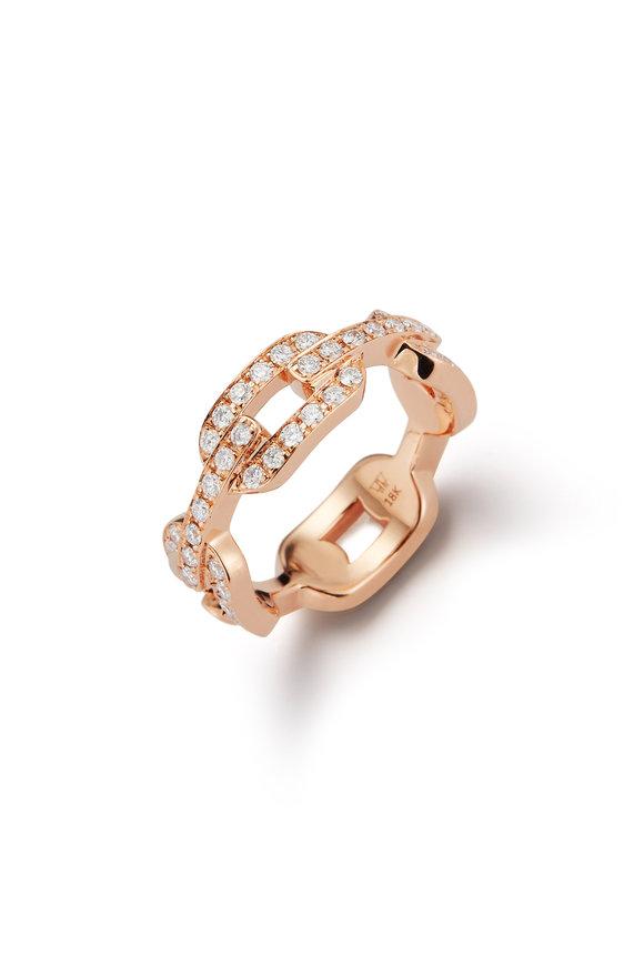 Walters Faith Rose Gold Diamond Flat Chain Link Ring