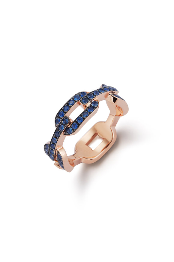Walters Faith Rose Gold Sapphire Flat Link Chain Ring