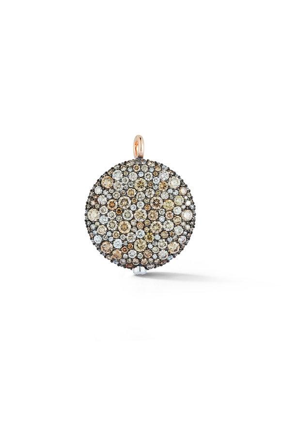 Walters Faith White & Rose Gold Diamond Pebble Pendant