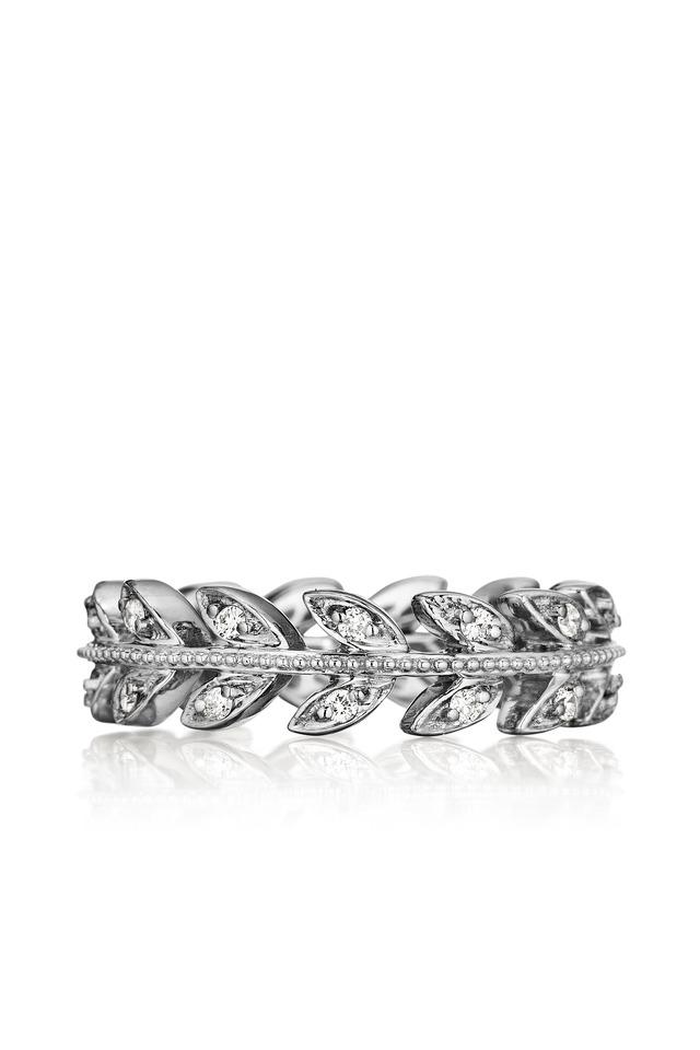 White Gold Diamond Leaf Band Ring