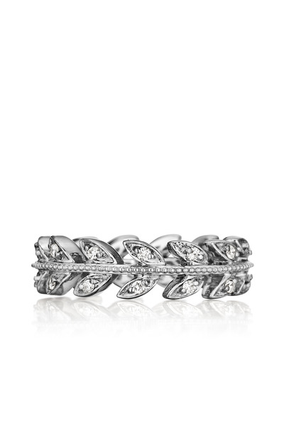 Penny Preville - White Gold Diamond Leaf Band Ring
