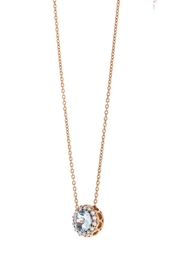 Selim Mouzannar Rose Gold Aquamarine & Diamond Necklace