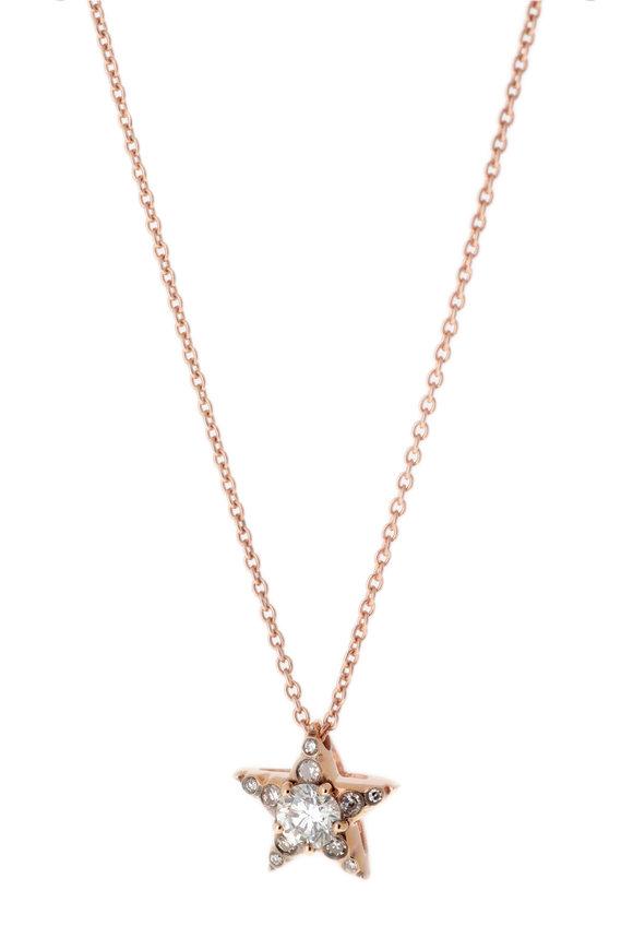Selim Mouzannar Rose Gold Diamond Star Pendant Necklace