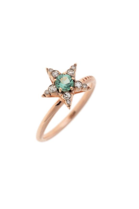 Selim Mouzannar Rose Gold Green Tourmaline Ring