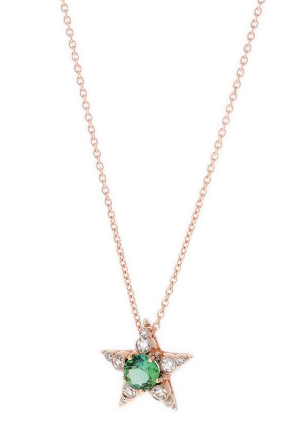 Selim Mouzannar Mint Green Tourmaline & Diamond Star Pendant