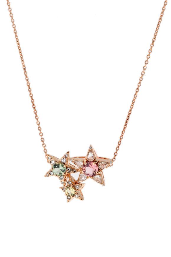 Selim Mouzannar Tourmaline & Diamond Star Cluster Pendant Necklace