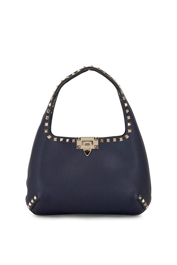 Valentino Garavani Rockstud Marine Leather Small Hobo Bag