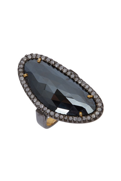 Loriann - Yellow Gold & Silver Black Spinel Ring
