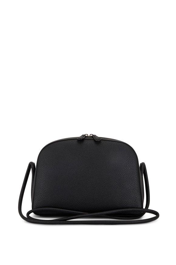 The Row Mignon Black Grained Leather Crossbody Bag