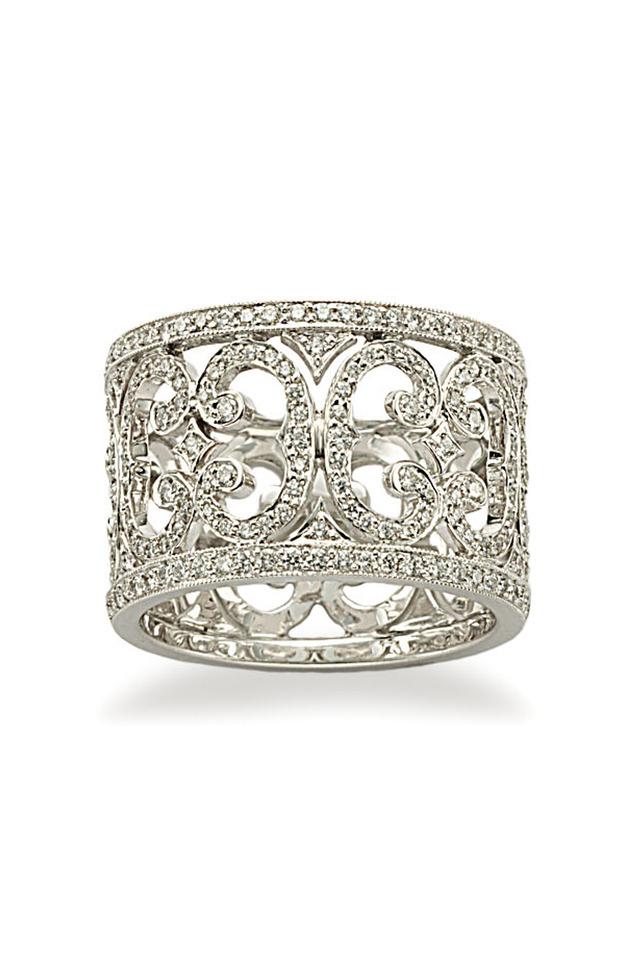 White Gold Scroll Diamond Ring